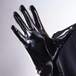 11-inch Faux Patent Leather PU Wet Look Gloves